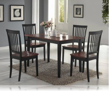 Oak/Black 5 Pc Dining Set, Dining Room Furniture Set Coaster 150153