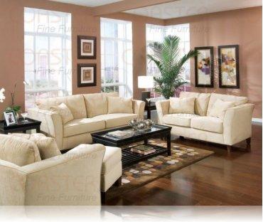 Park Place Cream Velvet Sofa + Love Seat