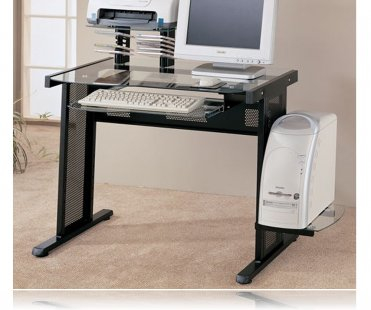 Pratum Glass Computer Desk in Black