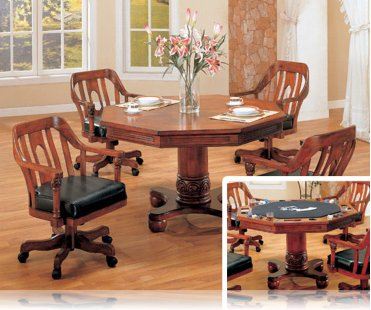 Rich Cherry 5 Pc Dining Set and Reversible Game