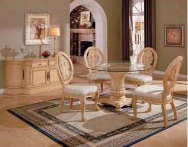 Rother 5 Pc. Antique White Dining Set + Buffet