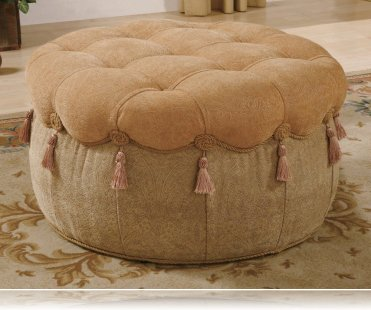Round Ottoman in Plush Fabric