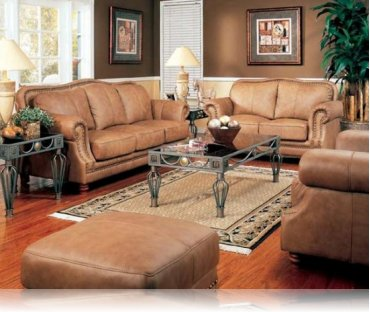 Savannah 2 Pc Leather Sofa Love Seat Leather Upholstery Coaster 8853sl