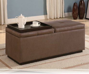 Storage Ottoman in Brown Microfiber
