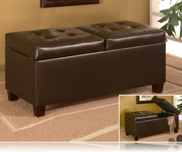 Storage Ottoman in Dark Brown Leather-like Vinyl