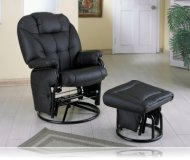 Swivel Glider with Ottoman in Black Leatherette