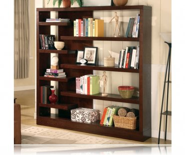 Unique Design Cappuccino Finish Bookcase