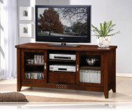 Walnut  tv stand glass