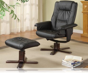 Wildon Leisure Chair and Ottoman in Black Leather