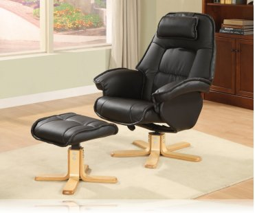 Wildon Leisure Chair and Ottoman in Black