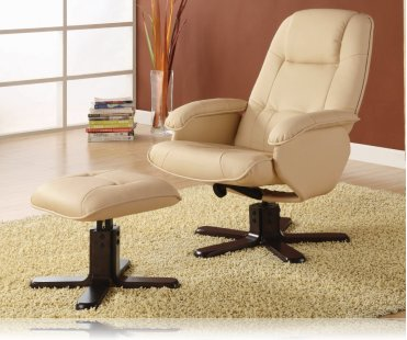 Wildon Leisure Chair and Ottoman in Ivory Leather