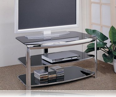 Tempered Glass Chrome TV Stand