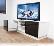 Addison  black glass tv stand