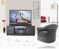 Chrystie  black glass tv stand